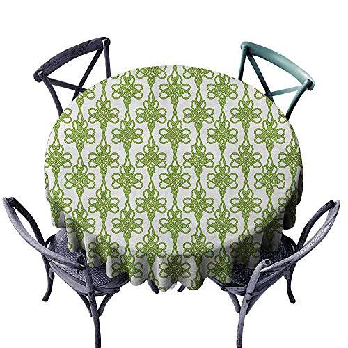 G Idle Sky Irish Wrinkle Resistant Tablecloth Entangled Clover Leaves Twigs Celtic Pattern Botanical Filigree Inspired Retro Tile Easy Care D47 Green Cream