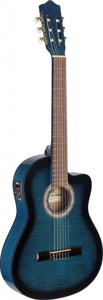 Stagg C546TCE 4/4-Size Nylon String Acoustic-Electric Classical Guitar - Blueburst