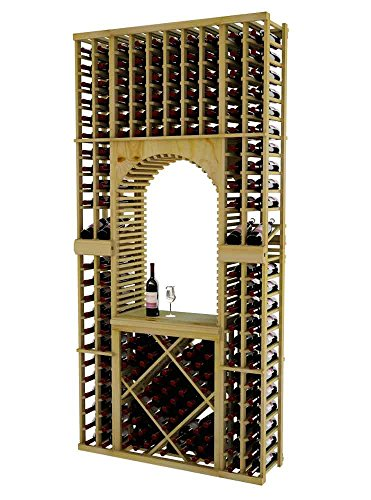 Vintner Series Wine Rack Tasting Center with Top Stack Displays and Open Diamond Bin for 176 Bottles - 8 Ft - Pine with Light Stain - Archway Option