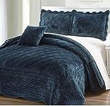 4 Piece Plush Navy Blue King Bedspread Set, Diamond Themed Bedding Stylish Vintage Antique Pretty Classic Elegant Shabby Chic Scalloped Geometric French Country Rich Soft Velvet, Polyester