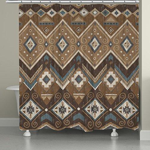 Santa Fe Shower Curtain Hooks - Laural Home SAF72SC Santa Fe Shower Curtain,Brown