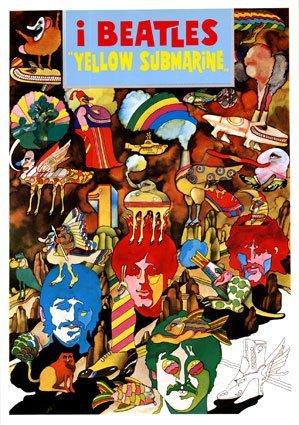 The Beatles Vintage Yellow Submarine Italian Promo Huge PAPE