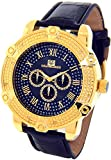Super Techno Diamond Watch Mens Genuine Diamond Watch Oversized Gold Case Leather Band w/ 2 Interchangeable Watch Bands #M-6154
