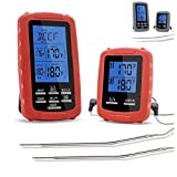 Meat thermometer digital grill oven or Highly smoker remote-reading food thermometers | The best wireless accessories for safe remote bbq grilling, kitchen cooking and smokers (red)