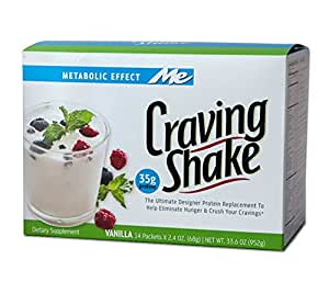 Craving Shake - Best Tasting Whey High Protein Meal Replacement - Grass Fed Whey Protein Powder and Vitamin Shake - Nutritious Meal Replacement - Vanilla Flavored - 14 Single Serving Packs