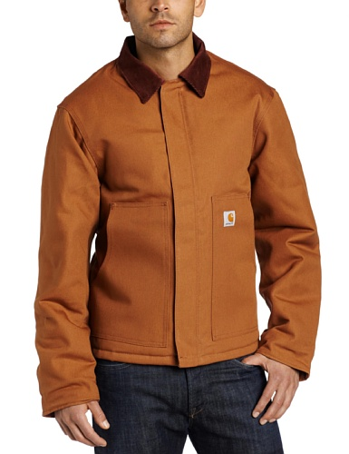 Carhartt Men's Big & Tall Arctic Quilt Lined Duck Traditional Jacket,Brown,X-Large - Coat Lined Arctic Quilt