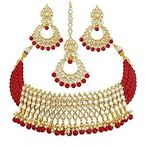 Sukkhi Incredible Gold Plated Wedding Jewellery Kundan Choker Necklace Set for women (N73502_D1)