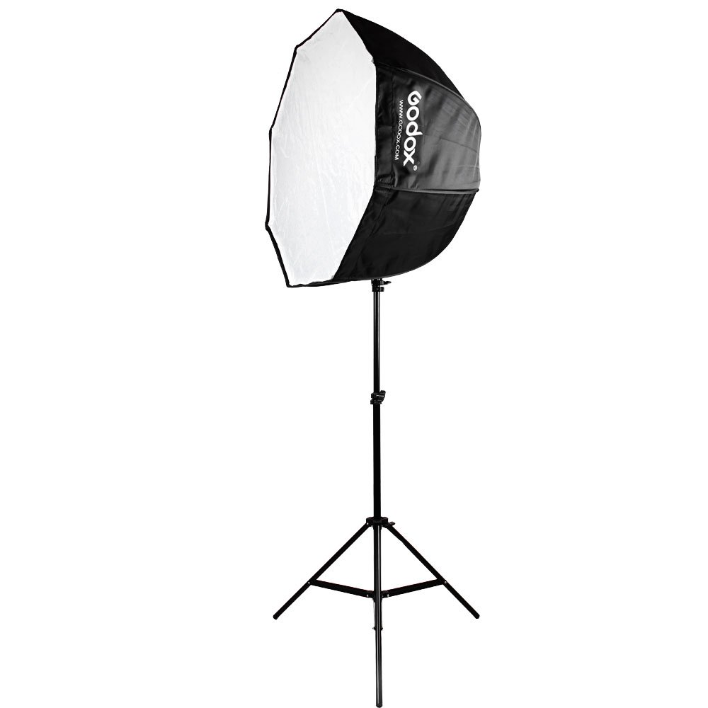 Godox Photo Studio 80cm 31.5in Portable Octagon Umbrella Softbox,190cm Light Stand with Hot Shoe Holder Bracket kit for Flash Speelidte