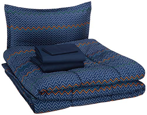- AmazonBasics Easy-Wash Microfiber Kid's Bed-in-a-Bag Bedding Set - Twin, Navy Zigzags