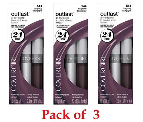 CoverGirl Outlast All Day Two Step Lipcolor, Burgundy 544 3 Pack