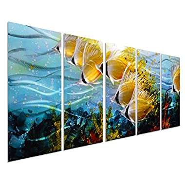Blue Tropical School of Fish Metal Wall Art, Large Metal Wall Art in Modern Ocean Design, 3D Wall Art for Modern and Contemporary Décor, 5-Panels, 24 x 64 , Metal Wall Décor Works Indoors and Outdoors