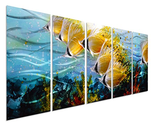 (Blue Tropical School of Fish Metal Wall Art, Large Metal Wall Art in Modern Ocean Design, 3D Wall Art for Modern and Contemporary Décor, 5-Panels, 24