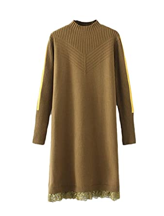 79db0d29e Mordenmiss Women s Lace Patchwork Knit Dress Long Sleeve Sweater ...