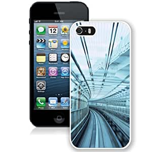 Beautiful Unique Designed iPhone 5S Phone Case With Urban Rail Glass_White Phone Case