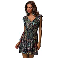 jinhuanshow Women's Casual Low-cut V-neck Backless Printed Dresses