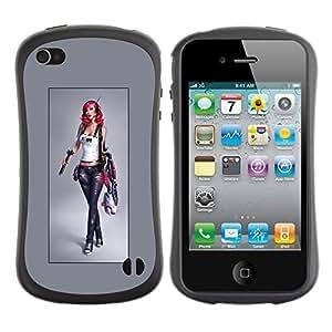 LASTONE PHONE CASE / Suave Silicona Caso Carcasa de Caucho Funda para Apple Iphone 4 / 4S / cool hipster girl woman grey tanktop babe