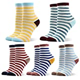 Women Cotton Casual Tube Socks 1/2 Crew Colorful & Comfortable Designs Pack of 5