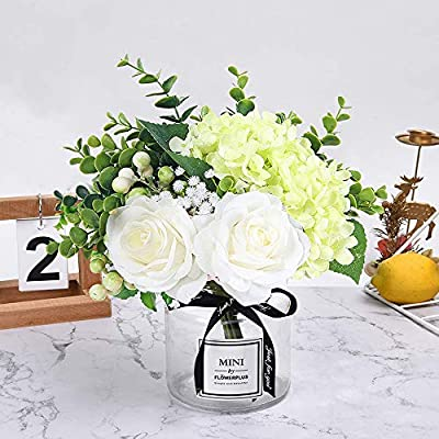 Hebe Artificial Flowers With Glass Vase Fake Silk Rose Flowers Eucalyptus Berries Arrangement Bouquet In Vase For Table Home Office Wedding Decoration White Amazon Sg Home