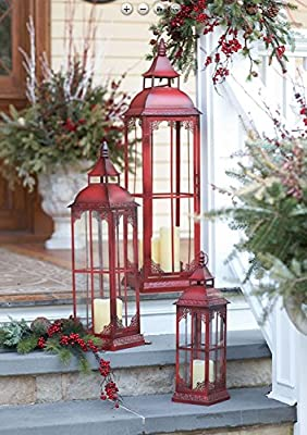 Set of 3 Extra Tall Red Candle Lanterns - 19.75, 28 and 37 Inch
