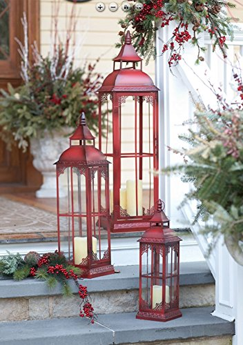 Set of 3 Extra Tall Red Candle Lanterns - 19.75, 28 and 37 (Extra Large Outdoor Lantern)