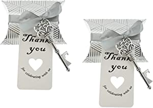 50pcs Skeleton Key Bottle Opener Wedding Party Favor Souvenir Gift with Candy Box Escort Tag and Ribbon(Silver Tone)