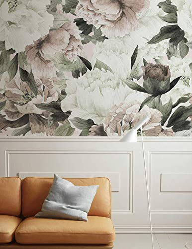 Murwall Floral Wallpaper, Peonies Watercolor Flowers Wall Murals ()