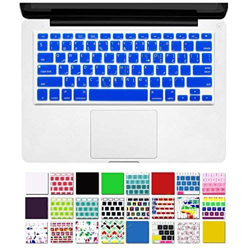"""DHZ Arabic Letter Silicone Keyboard Cover Skin for Macbook 13"""" Unibody / Macbook Pro 13"""" 15"""" 17"""" with or without Retina Display / New Macbook Air 13"""" / Wireless Keyboard + Extra Free Gift 1 Pcs DHZ Customized Cover (US/ISO Keyboard Layout)- Arabic/English (Blue)"""