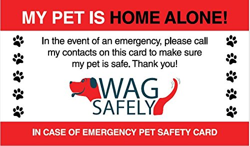 WagSafely Pet Home Alone Emergency Wallet Cards (Set of (Pet Business Cards)