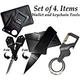Gifts for Men Gadgets (Set of 4) Card Size Multitool, Key Knife, Credit Card Knife and Bottle Opener Keychain