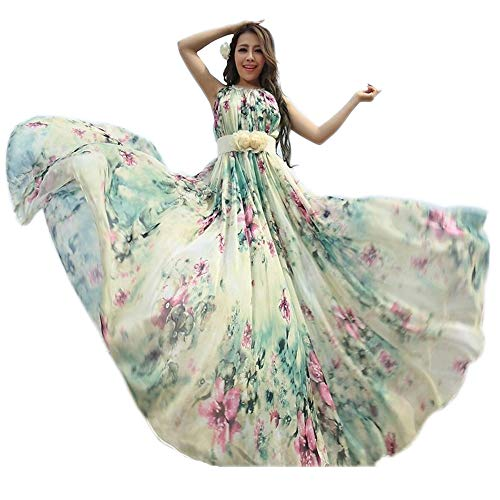 MedeShe Women's Chiffon Floral Holiday Beach Bridesmaid Maxi Dress Sundress (US Size 6-14; Length-135cm, Watery Green Floral)