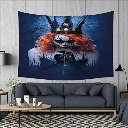 Anniutwo Queen Wall Hanging Tapestry Queen Death Scary Body Art Halloween Evil Face Bizarre Make Up Zombie Customed Widened Tapestry W90 x L60 (inch) Navy Blue Orange Black