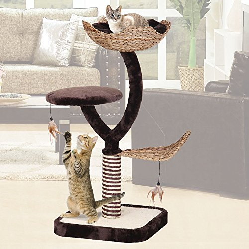 Penn Plax Multi Level Cat Play Tree, Lounge and Scratching Post ()