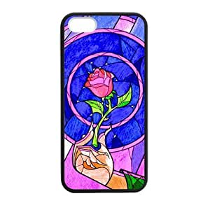 HipsterOne Custom Beauty and the Beast Rose Stained Glass Case For Iphone 5/5S Cover (; Laser Technology)