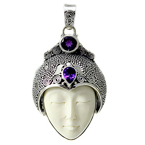 (Carved Bone Face Pendant with Two Amethyst Stones)