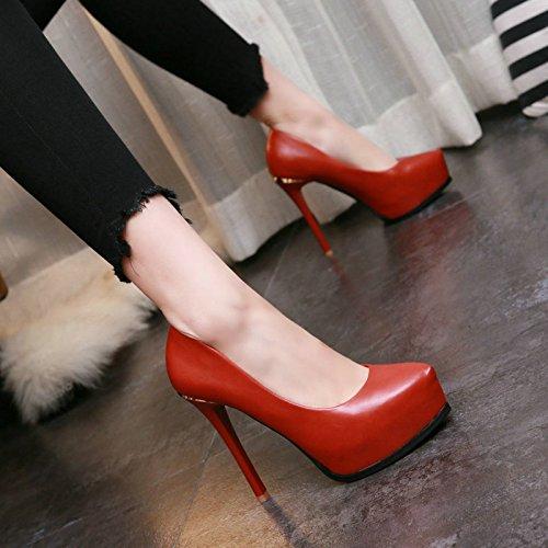 AJUNR-Zapatos De Mujer De Moda Plataforma Impermeable Inferior Grueso Super Talón Tienda Una Noche Zapatos De Mujer Fuerte Y Superficial Solo Zapatos Zapatos De Cercanías Y Ladrillo Rojo Zapatos De Bo Brick red