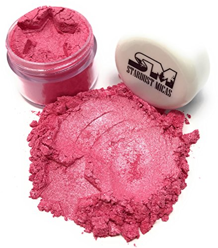Stardust Micas Pigment Powder Cosmetic Grade Colorant for Makeup, Soap Making, Bath Bombs, DIY Crafting Projects, Bright True Colors Stable Mica Batch Consistency Pink Watermelon (Bomb Bath Colorant Pink Dye)