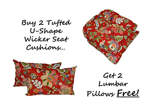 Resort Spa Home Decor Set of 2 - Indoor/Outdoor Universal Tufted U-Shape Cushions for Wicker Chair Seat - Red, Coral, Green - Telfair Red Floral Paisley + 2 Free Lumbar/Rectangle Pillows ()
