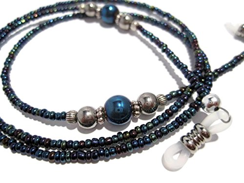 Metallic Blue and Silver Decorative Beaded Eyeglass Holder Chain