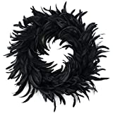 Zucker Feather Products Natural Schlappen Feather Christmas Wreath-24 inch Black Farmhouse Autumn or Fall Decor