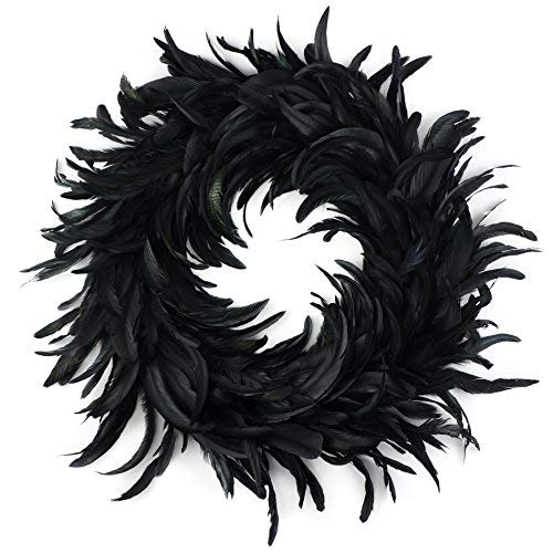Zucker Feather Products Natural Schlappen Feather Christmas Wreath-24 inch Black Farmhouse Autumn or Fall -