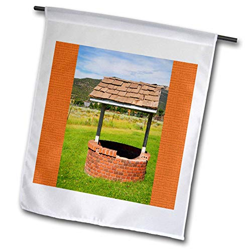 (3dRose Jos Fauxtographee- Wishing Well - A wishing well with an orange frame on both sides - 18 x 27 inch Garden Flag (fl_288627_2))