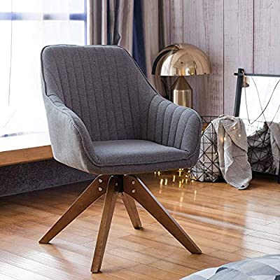 "Art Leon Mid-Century Modern Swivel Accent Chair Elegant Grey with Wood Legs Armchair for Home Office Study Living Room Vanity Bedroom - New upgraded swivel accent chair with arms, can spin it 360 degree,it's easy to install by the following instruction. Overall dimension:23.22""W x 25.6""D x 34.25""H. Roomy depth and wide create comfortable seating, great for your living room,dining room,bedroom,office,study or makeup vanity,attractive enough for any room. Comfortable sitting experience,firm and well cushioned,seat area is large enough,like to curl up or sit cross-legged to read ,long conversation or work,comfortable even sit for a long day. - living-room-furniture, living-room, accent-chairs - 515O5WhQCwL. SS400  -"