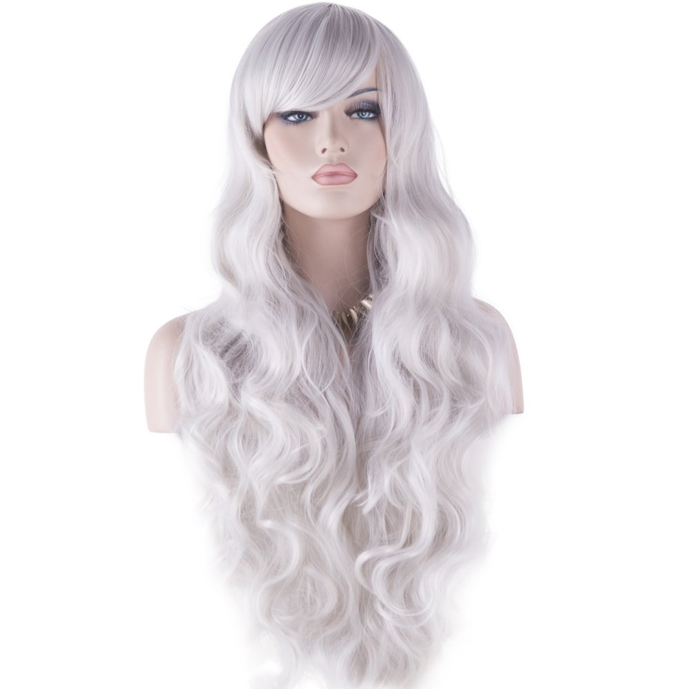 DAOTS 32'' Cosplay Wigs Long Wig Hair Heat Resistant Curly Wave Hairs for Women(Silver White) by DAOTS