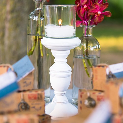 - Shabby Chic Spindle Candle Holder Set White