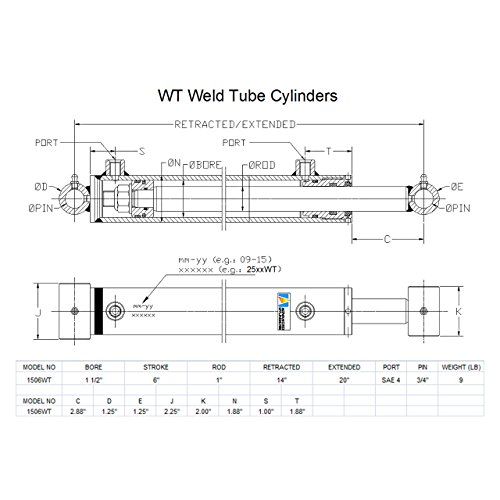 Advanced Cylinders WT Weld Cross Tube Hydraulic Cylinder 1 1/2'' Bore x 6'' Stroke x 1'' Rod x SAE 4 Port x 3000 PSI by ADVANCED CYLINDERS (Image #1)