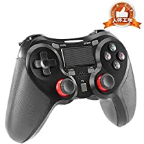 ps4 コントローラー PS4 Pro/Slim PC対応 HD振動 連射 ゲームパッド ゲームコントローラー USB イヤホンジャック スピーカー内蔵 6軸センサー 高耐久ボタン ブラック
