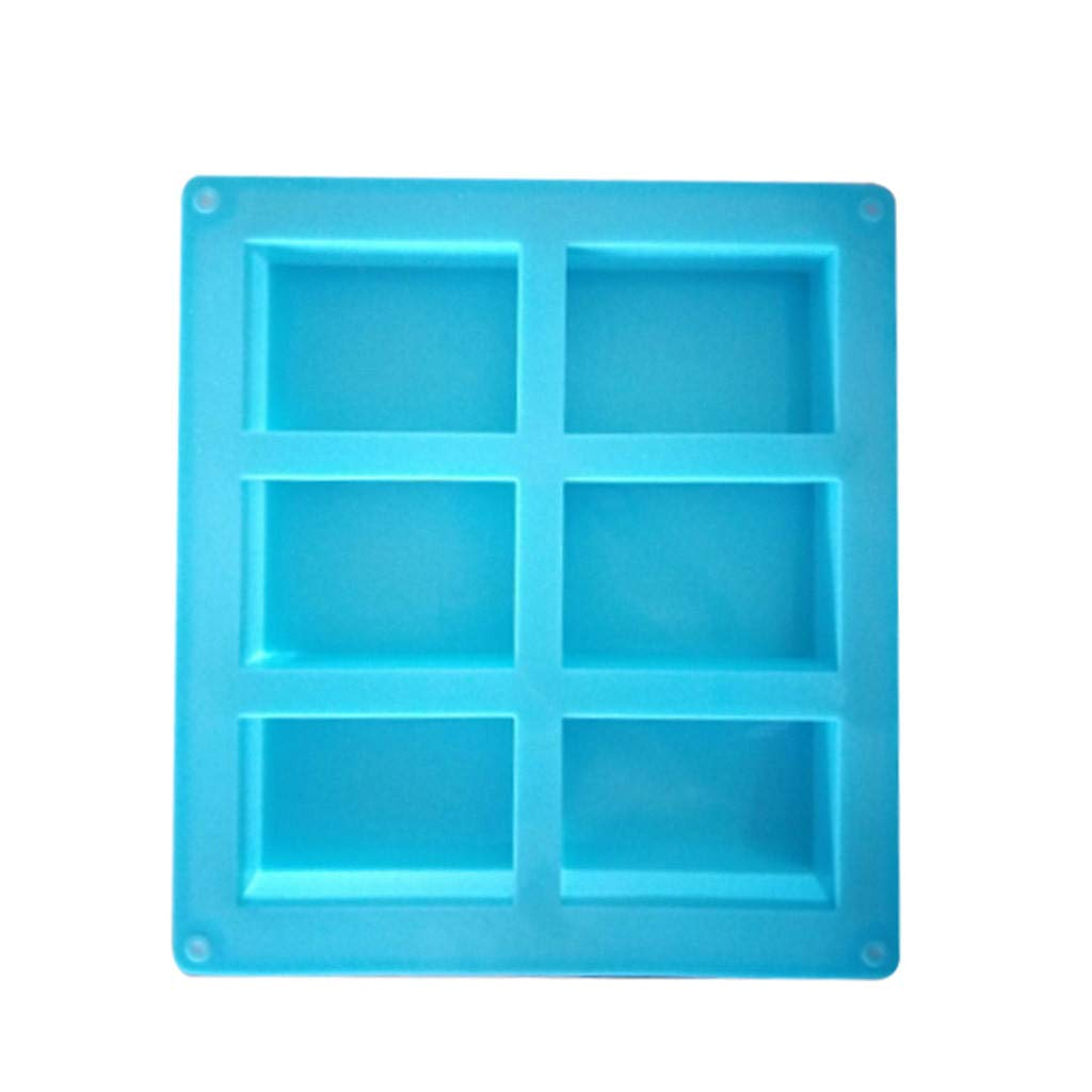Clearance Sale 6-Cavity DIY Making Homemade Cake Mould Multifunction Blue Silicone Soap Mold Rectangle