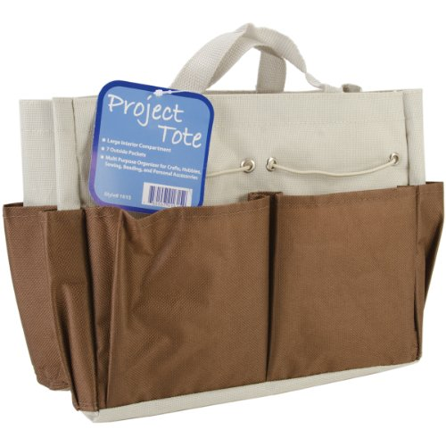 ALLARY Project Tote, 9.5 by 8.5 by 5-Inch, Brown Ecru