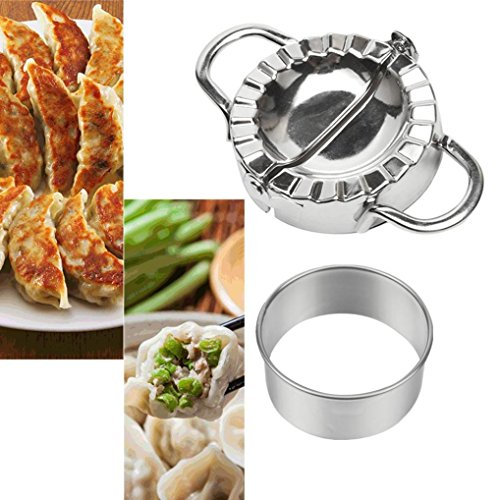 Dumpling Mould,Lovewe Pastry Tools Stainless Steel Dumpling Maker Dough Cutter Dumpling Mould For The New Year(Silver) by Lovewe_Dumpling Mould (Image #7)