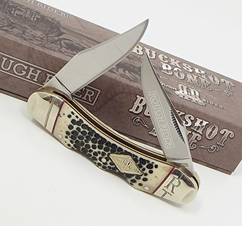 Double Lockback Two Dual Clip Blades Pocket Knife Shotgun Buckshot Bone Handles Rough Rider Knives